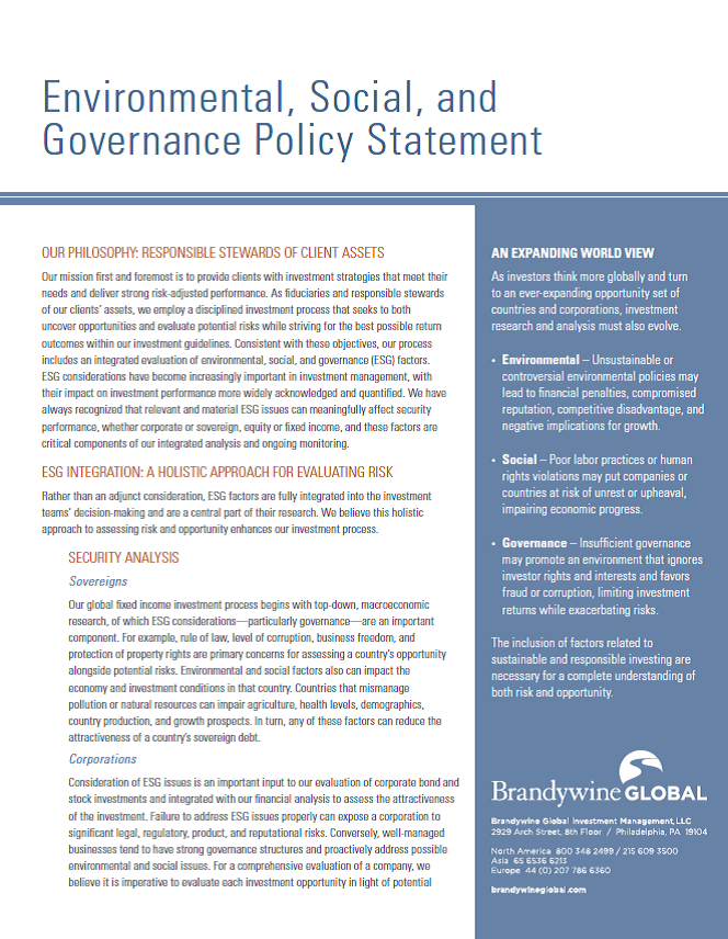 ESG Integration and Engagement Policy Statement